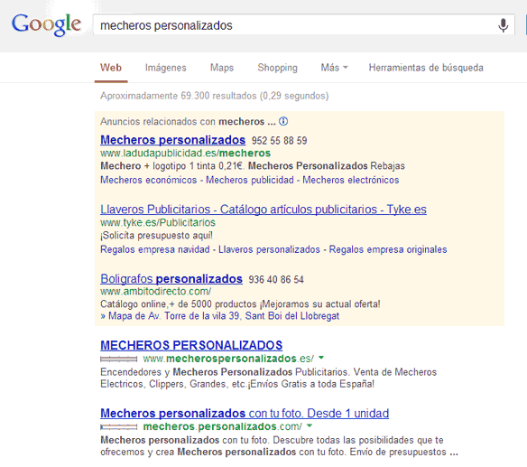 mecheros publicitarios Estudio sobre tipos de Exact Match Domains y su repercusión en las SERPs en un sector #SEO #EMD