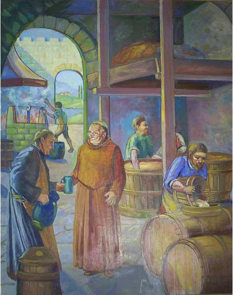 Maestro cervecero en la elaboración de cerveza del monasterio.