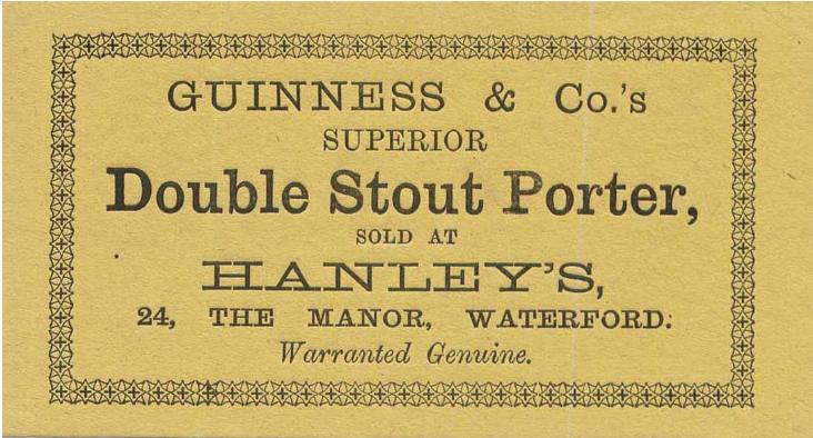 Etiqueta de Double Stout Porter de finales de S.XIX (1880-1890).
